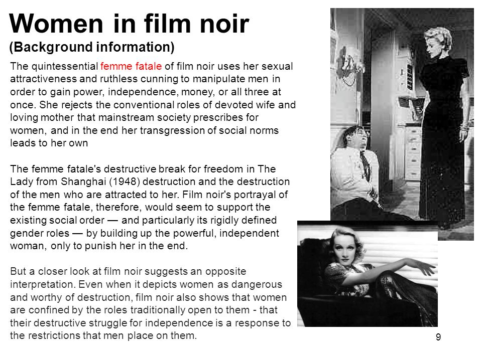 Women in film noir (Background information)
