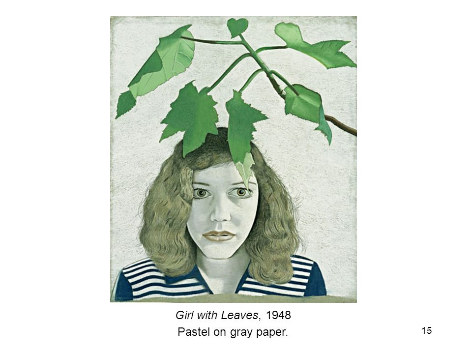 Girl with Leaves, 1948 Pastel on gray paper.