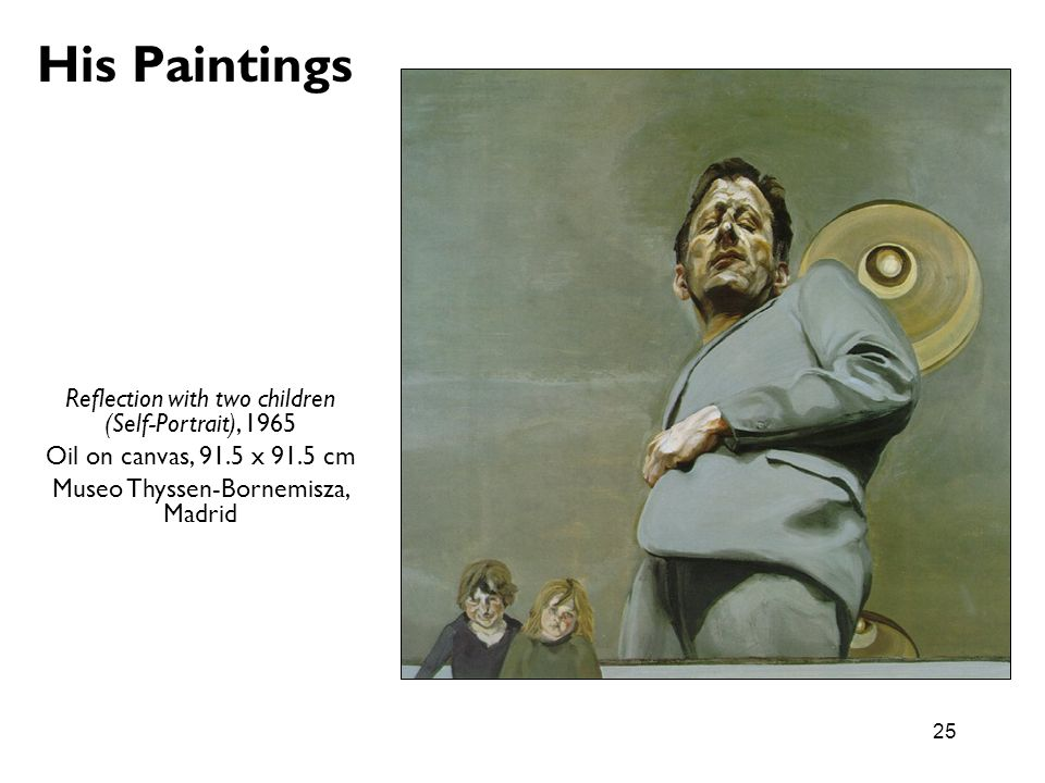 His Paintings Reflection with two children (Self-Portrait), 1965