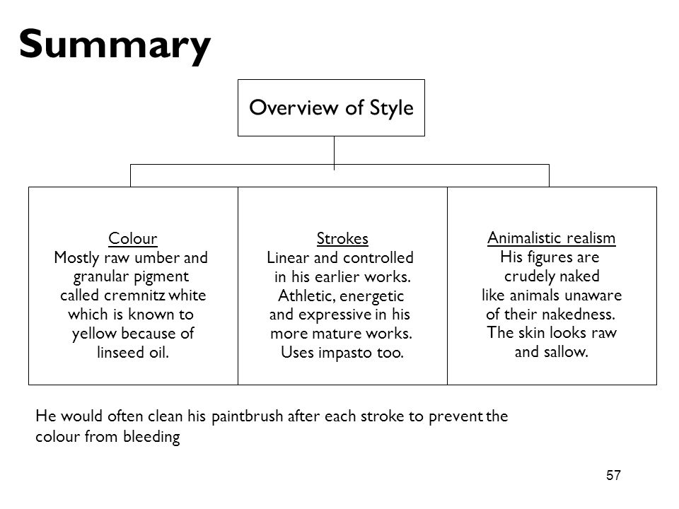 Summary Overview of Style Colour Mostly raw umber and granular pigment