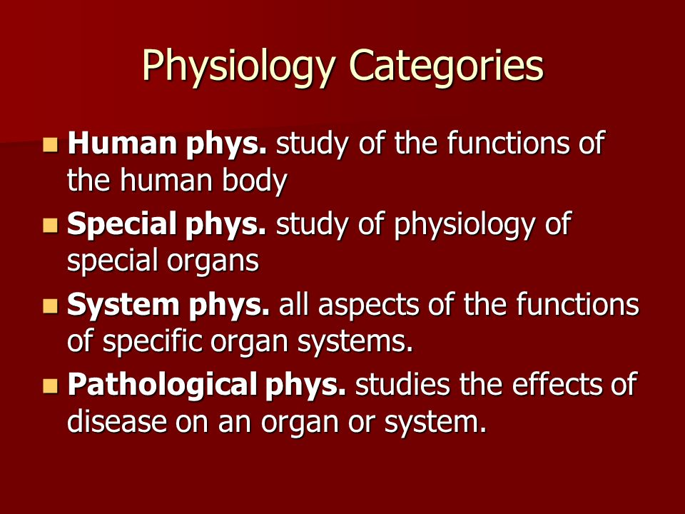 Physiology Categories