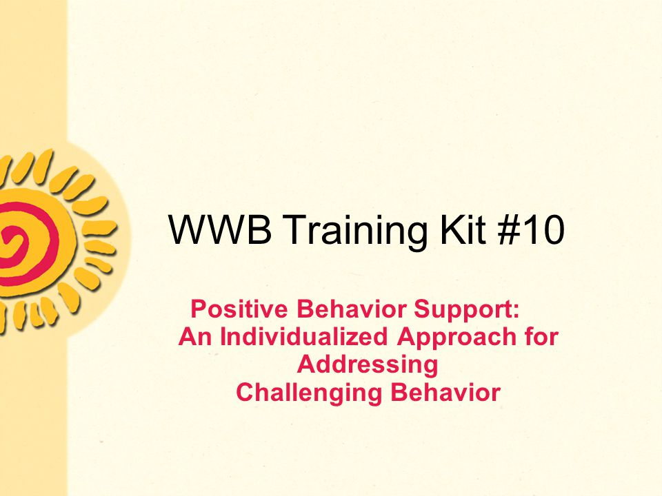 WWB Training Kit #10 Positive Behavior Support: An Individualized Approach for Addressing Challenging Behavior.
