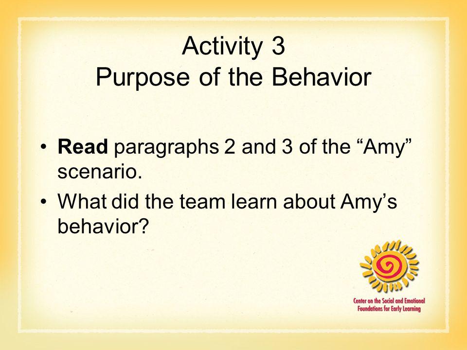 Activity 3 Purpose of the Behavior