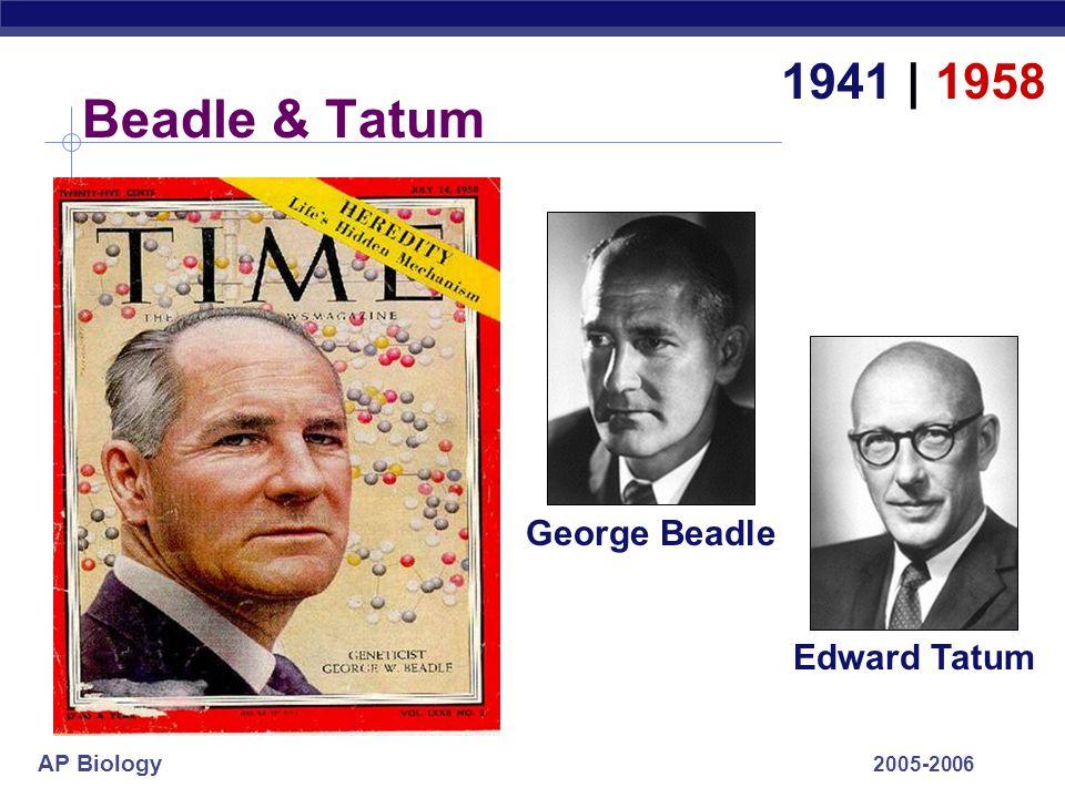 1941 | 1958 Beadle & Tatum George Beadle Edward Tatum 2005-2006