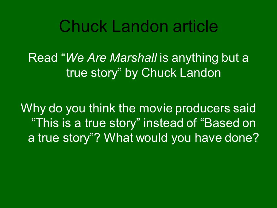Read We Are Marshall is anything but a true story by Chuck Landon