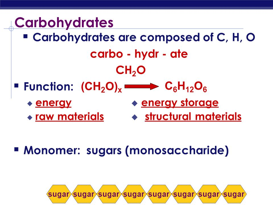 Carbohydrates are composed of C, H, O