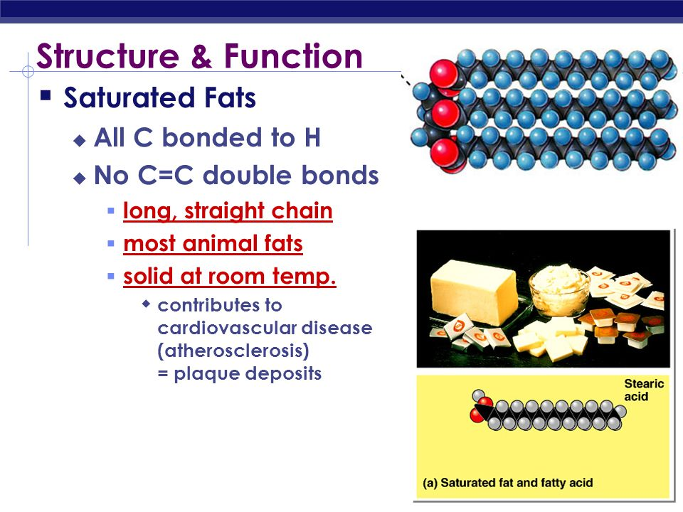 Structure & Function Saturated Fats All C bonded to H