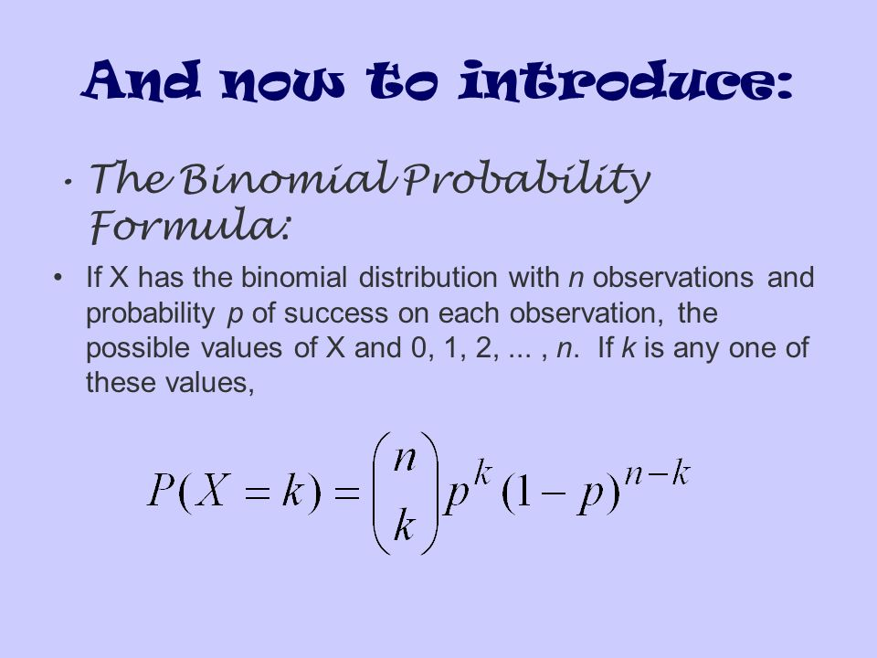 And now to introduce: The Binomial Probability Formula: