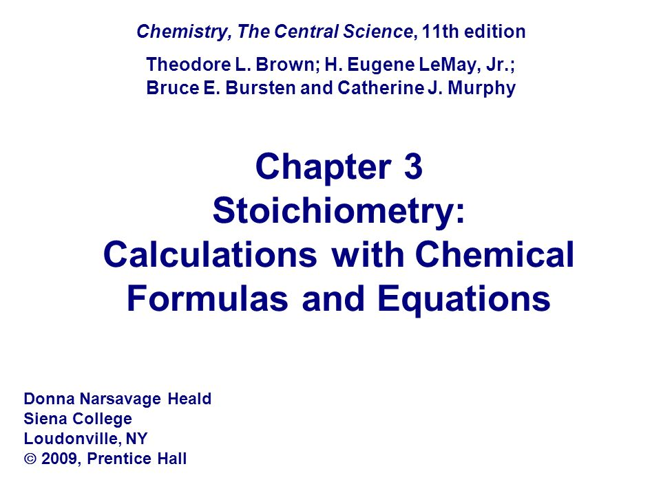 Chemistry, The Central Science, 11th edition