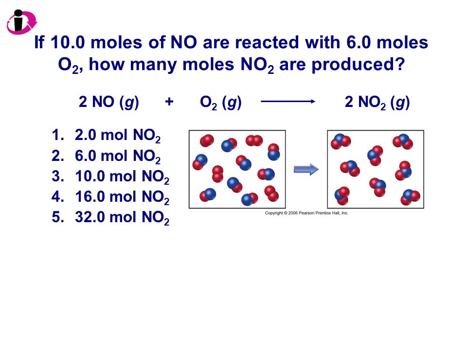 If 10. 0 moles of NO are reacted with 6