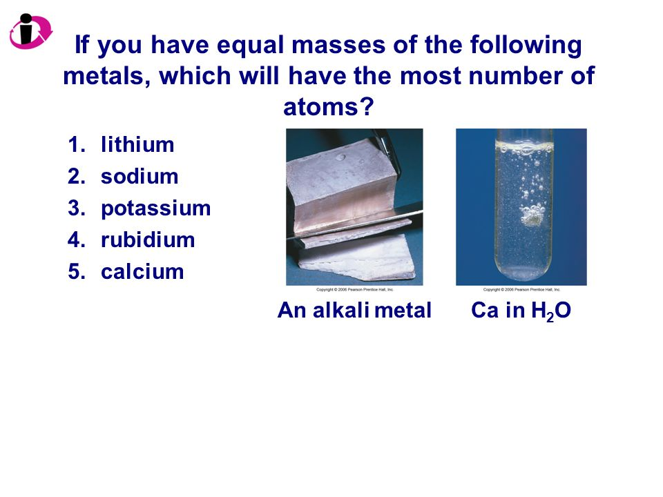 If you have equal masses of the following metals, which will have the most number of atoms