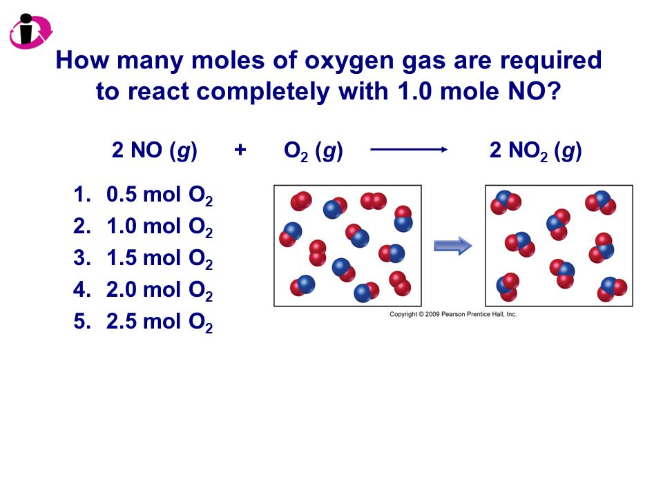 How many moles of oxygen gas are required to react completely with 1