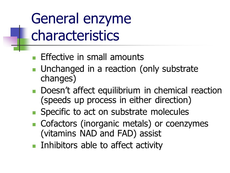 General enzyme characteristics