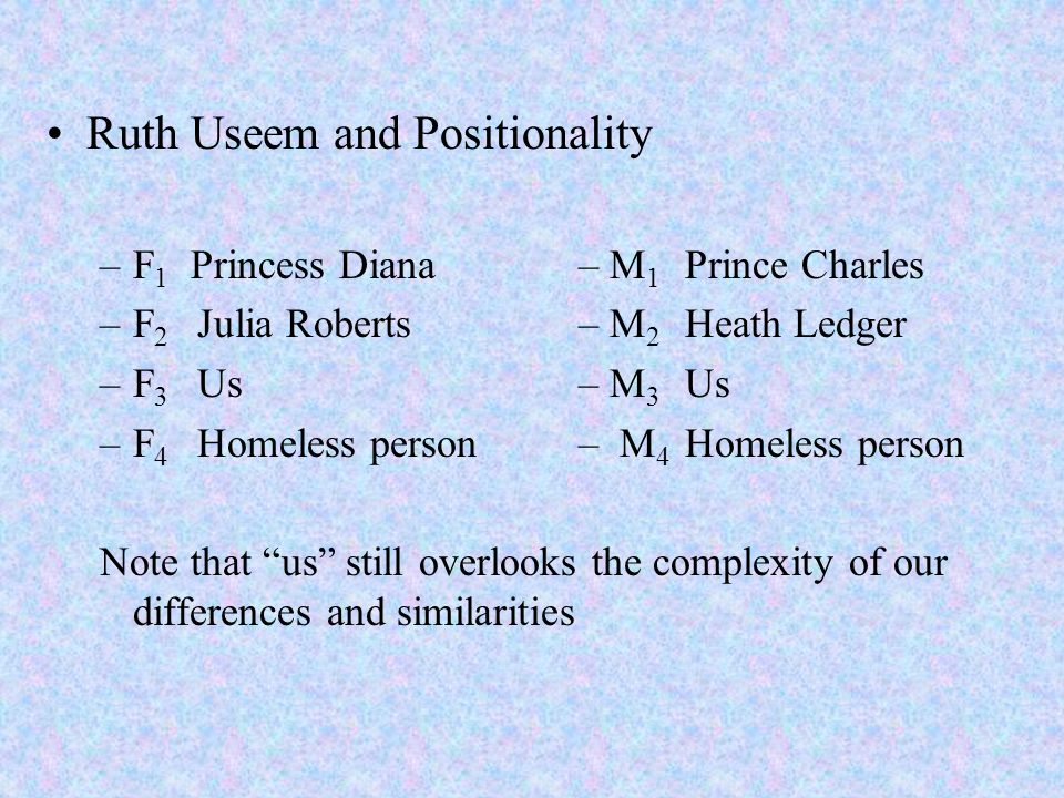 Ruth Useem and Positionality