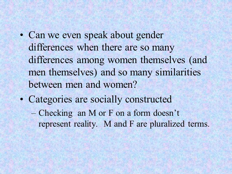 Categories are socially constructed