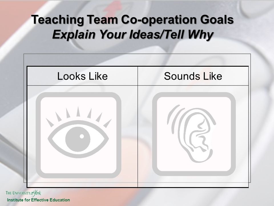 Teaching Team Co-operation Goals Explain Your Ideas/Tell Why