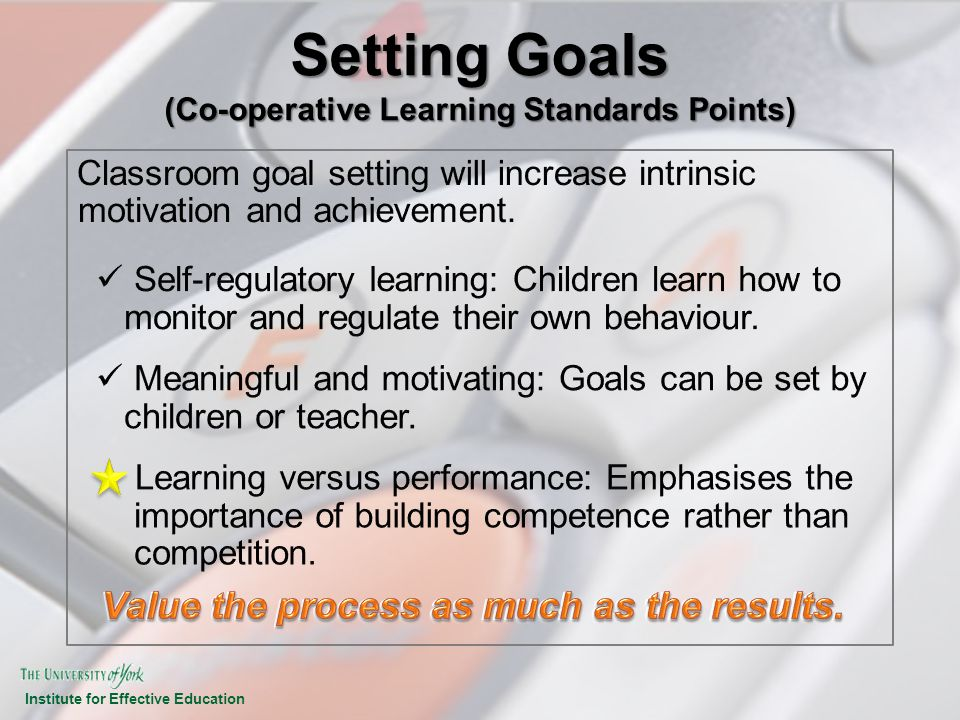 Setting Goals (Co-operative Learning Standards Points)