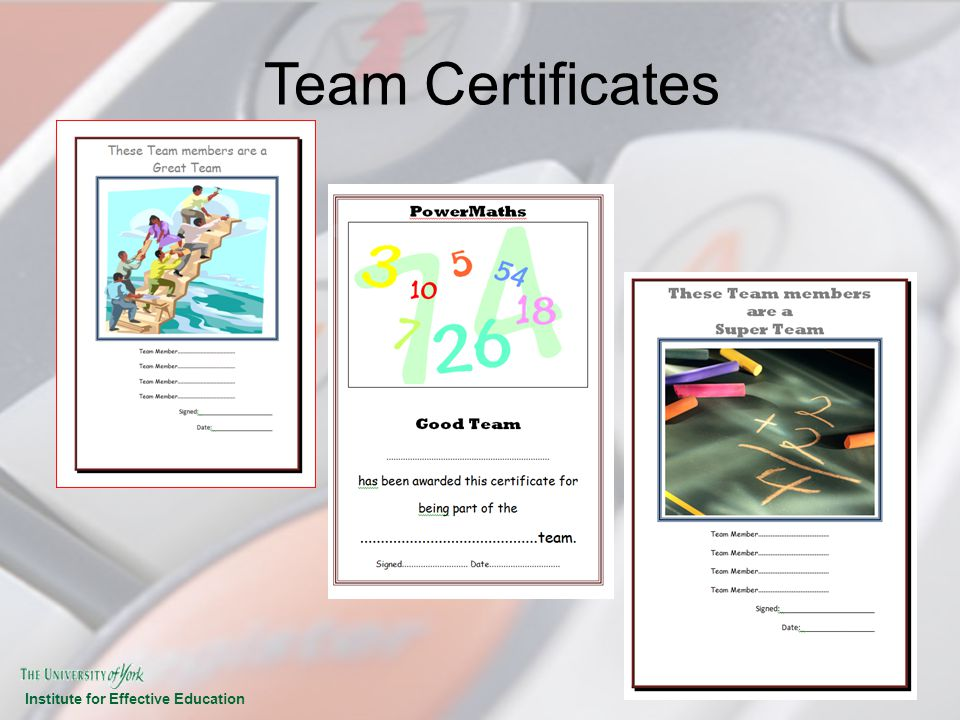 Team Certificates IEE & SFA 2008-09 14