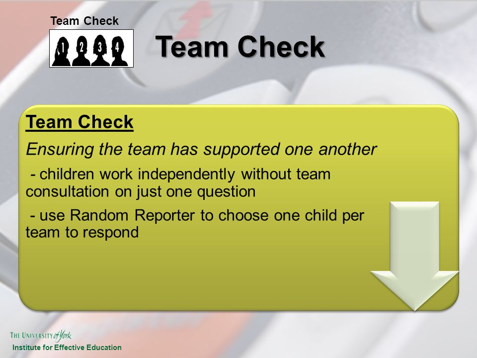 Team Check Team Check Ensuring the team has supported one another