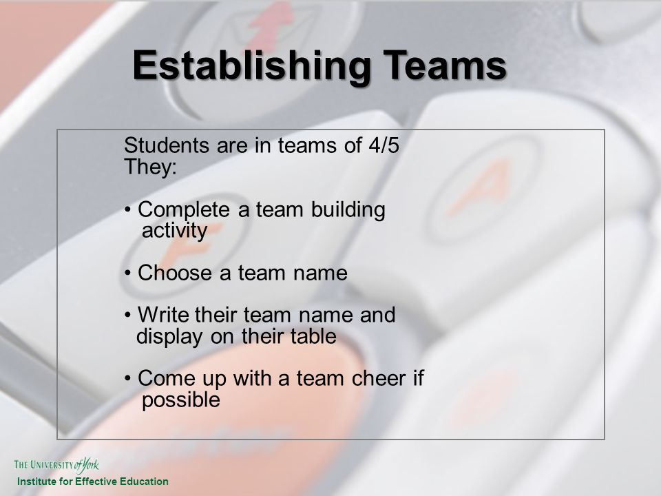 Establishing Teams Students are in teams of 4/5 They: