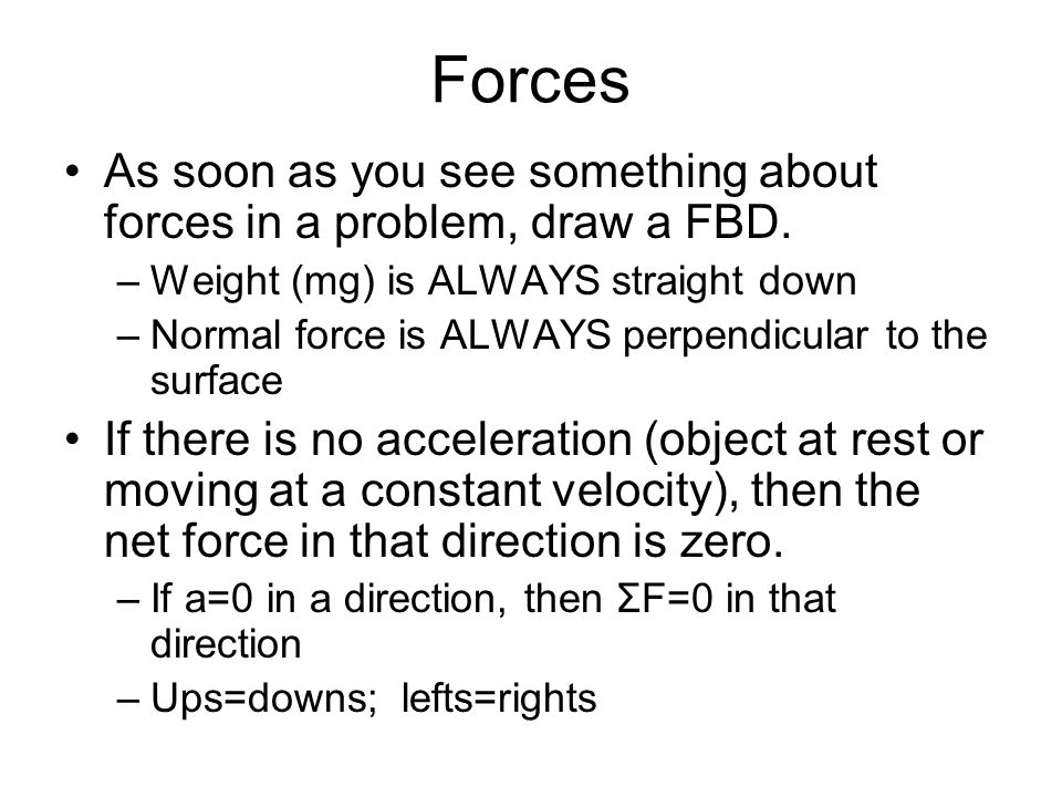 Forces As soon as you see something about forces in a problem, draw a FBD. Weight (mg) is ALWAYS straight down.