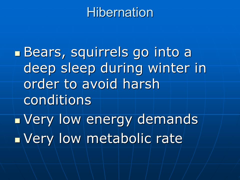 HibernationBears, squirrels go into a deep sleep during winter in order to avoid harsh conditions. Very low energy demands.