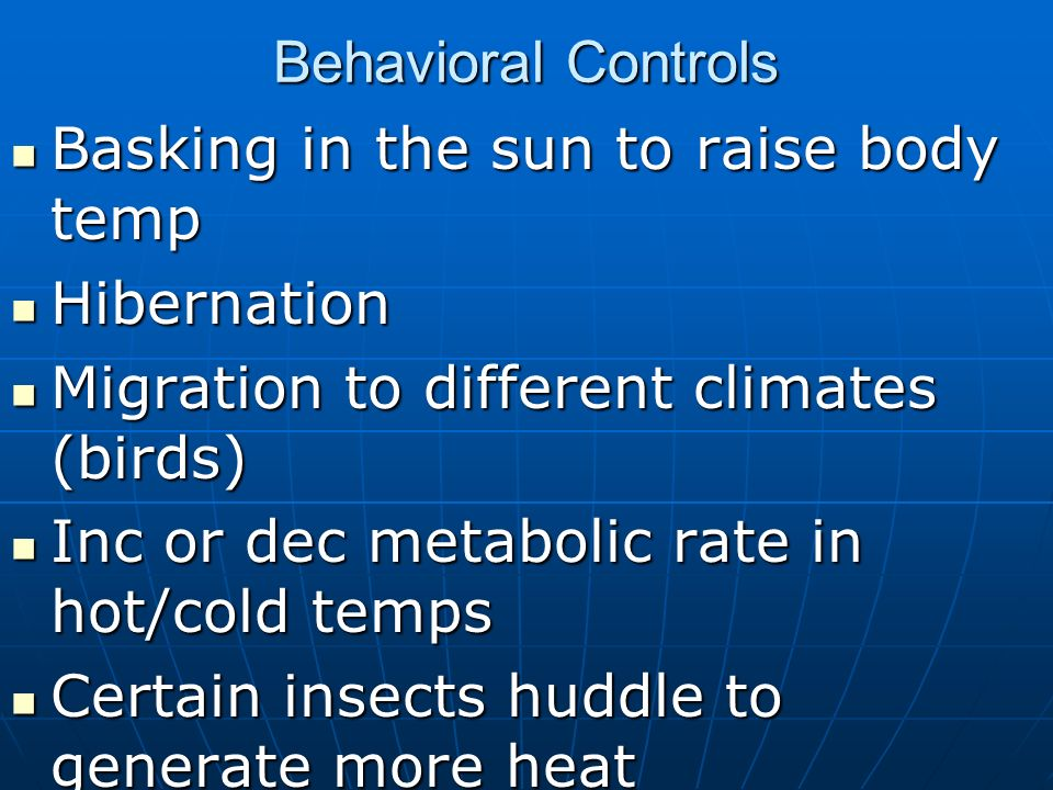 Behavioral ControlsBasking in the sun to raise body temp. Hibernation. Migration to different climates (birds)