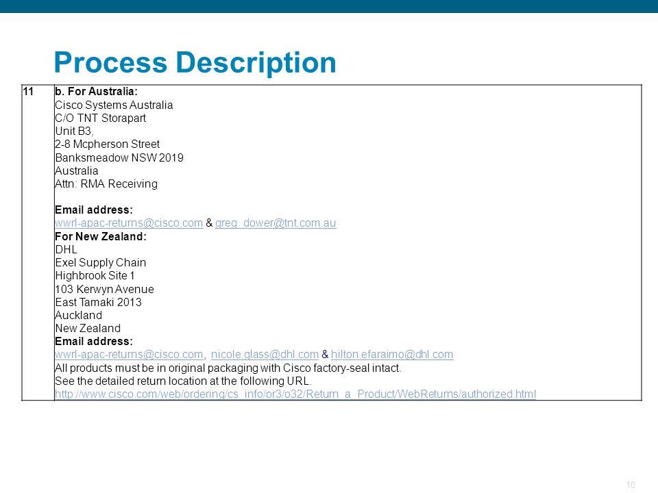 Process Description 11 b. For Australia: