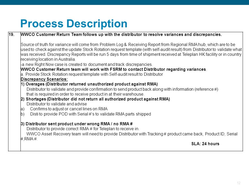 Process Description 19. WWCO Customer Return Team follows up with the distributor to resolve variances and discrepancies.