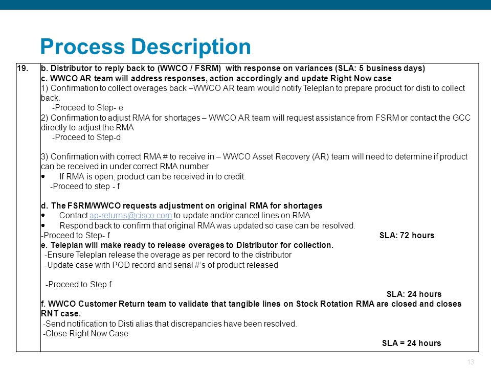 Process Description 19. b. Distributor to reply back to (WWCO / FSRM) with response on variances (SLA: 5 business days)