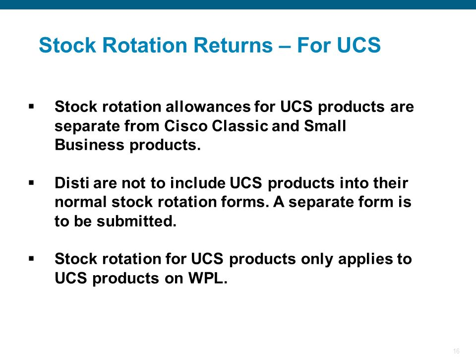 Stock Rotation Returns – For UCS