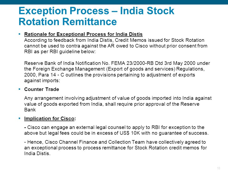 Exception Process – India Stock Rotation Remittance