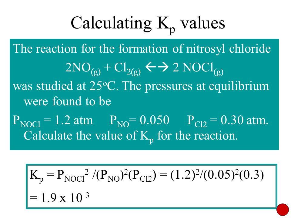2NO(g) + Cl2(g)  2 NOCl(g)