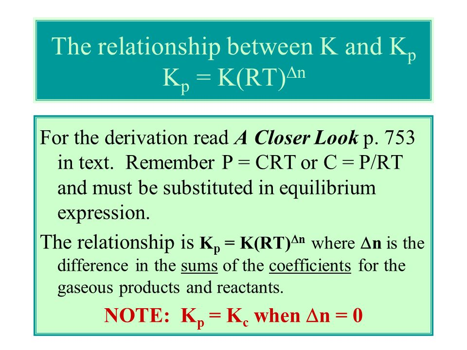 The relationship between K and Kp Kp = K(RT)Dn