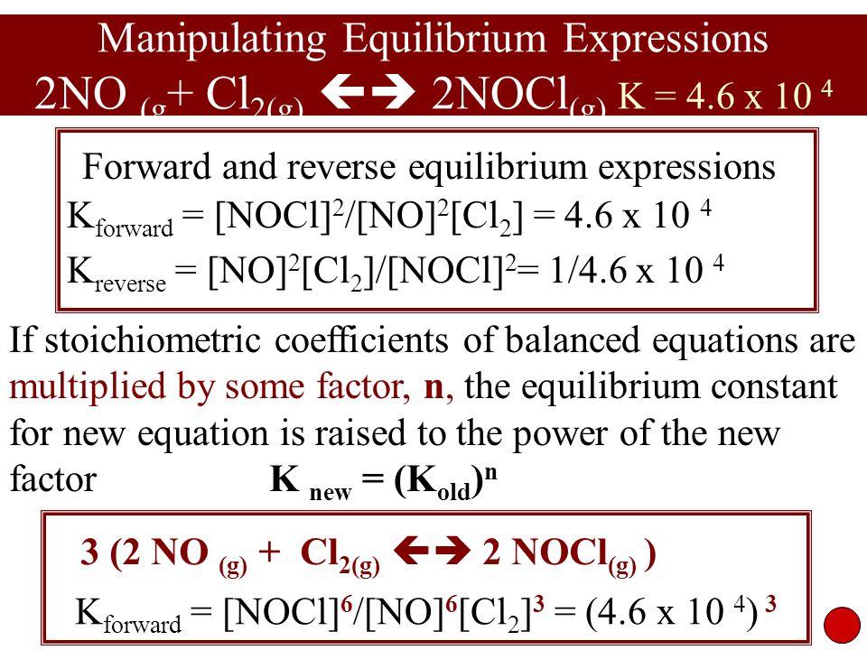 3 (2 NO (g) + Cl2(g)  2 NOCl(g) )