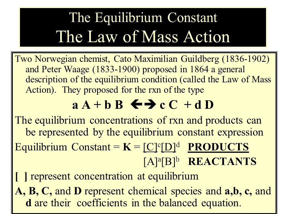 The Equilibrium Constant The Law of Mass Action