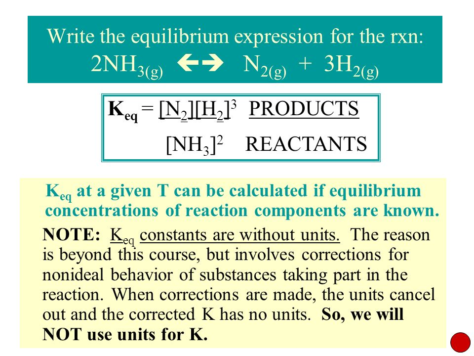 Write the equilibrium expression for the rxn: 2NH3(g)  N2(g) + 3H2(g)