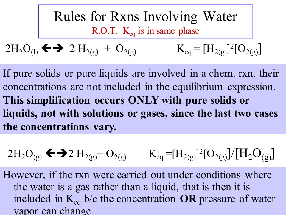 Rules for Rxns Involving Water R.O.T. Keq is in same phase