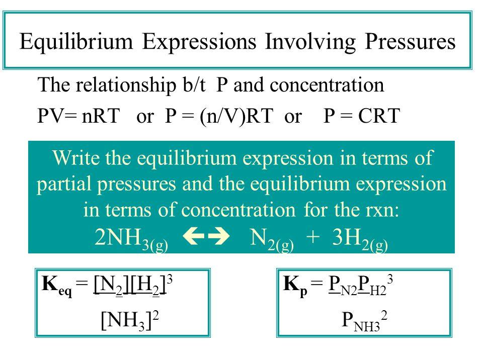 Equilibrium Expressions Involving Pressures