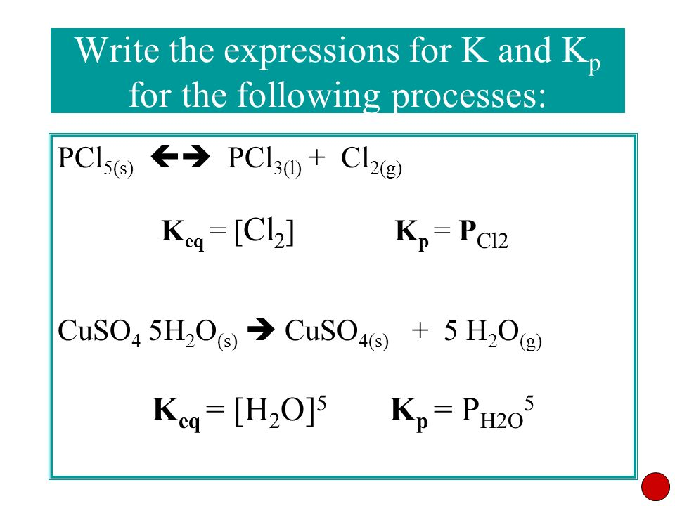Write the expressions for K and Kp for the following processes: