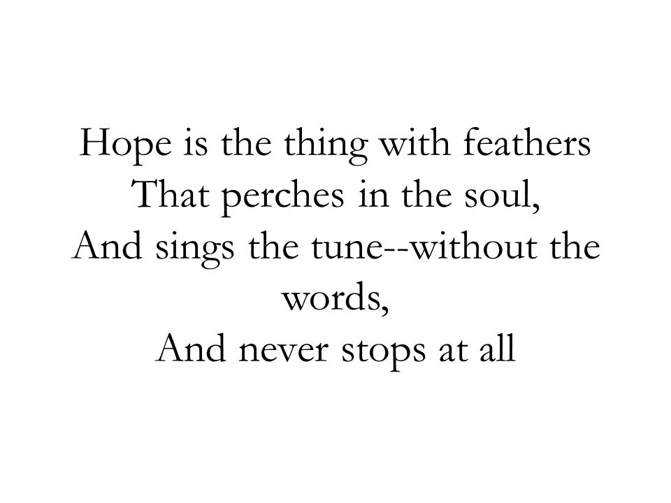 Hope is the thing with feathers That perches in the soul, And sings the tune--without the words, And never stops at all