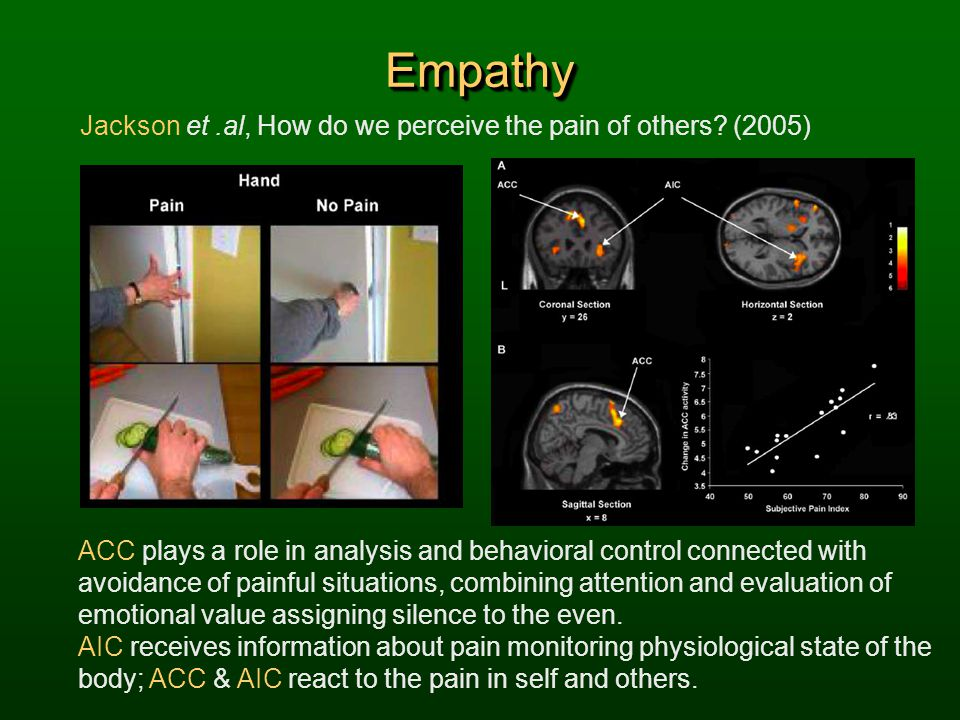 Empathy Jackson et .al, How do we perceive the pain of others (2005)