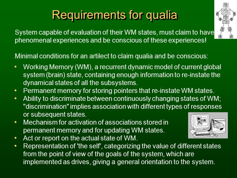 Requirements for qualia