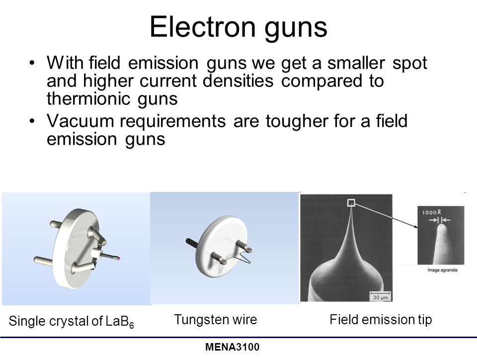 Electron guns With field emission guns we get a smaller spot and higher current densities compared to thermionic guns.
