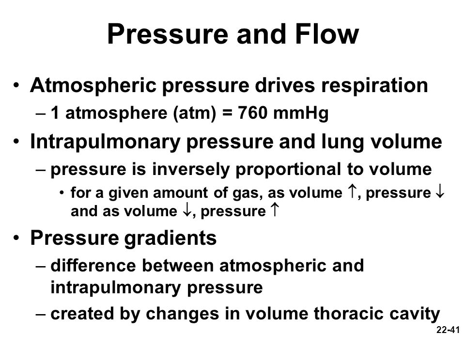Pressure and Flow Atmospheric pressure drives respiration