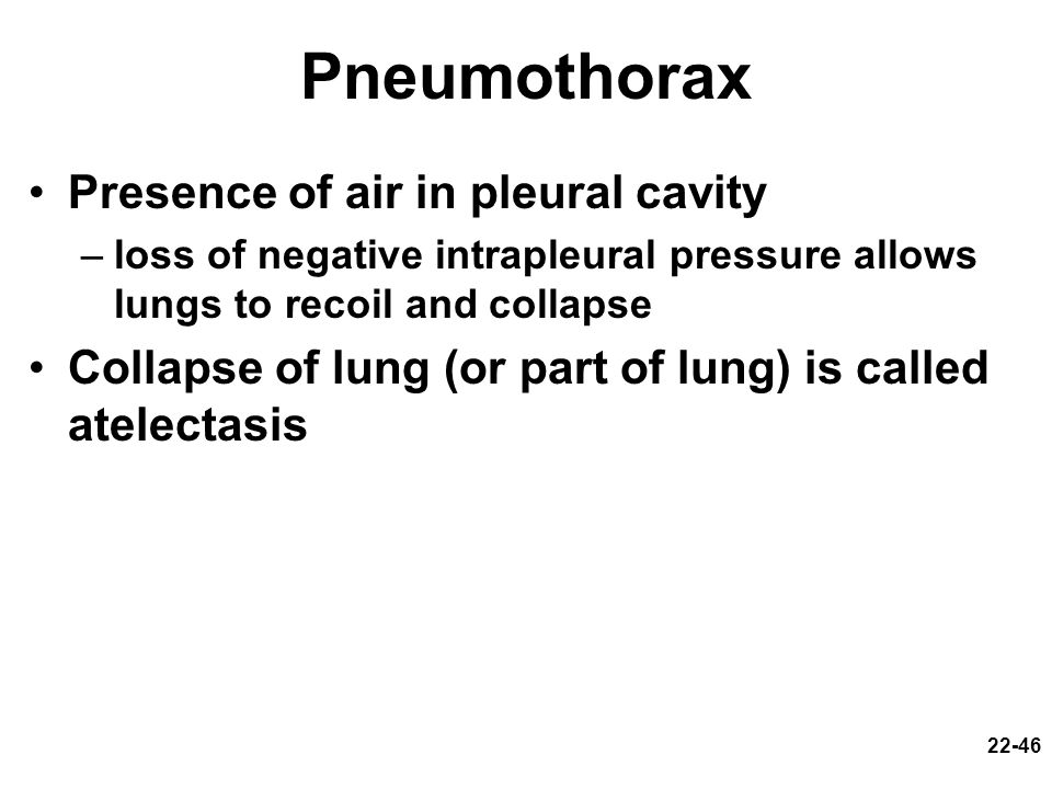 Pneumothorax Presence of air in pleural cavity