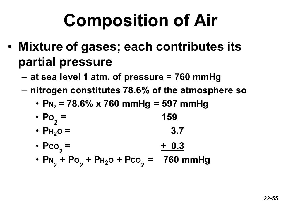 Composition of Air Mixture of gases; each contributes its partial pressure. at sea level 1 atm. of pressure = 760 mmHg.