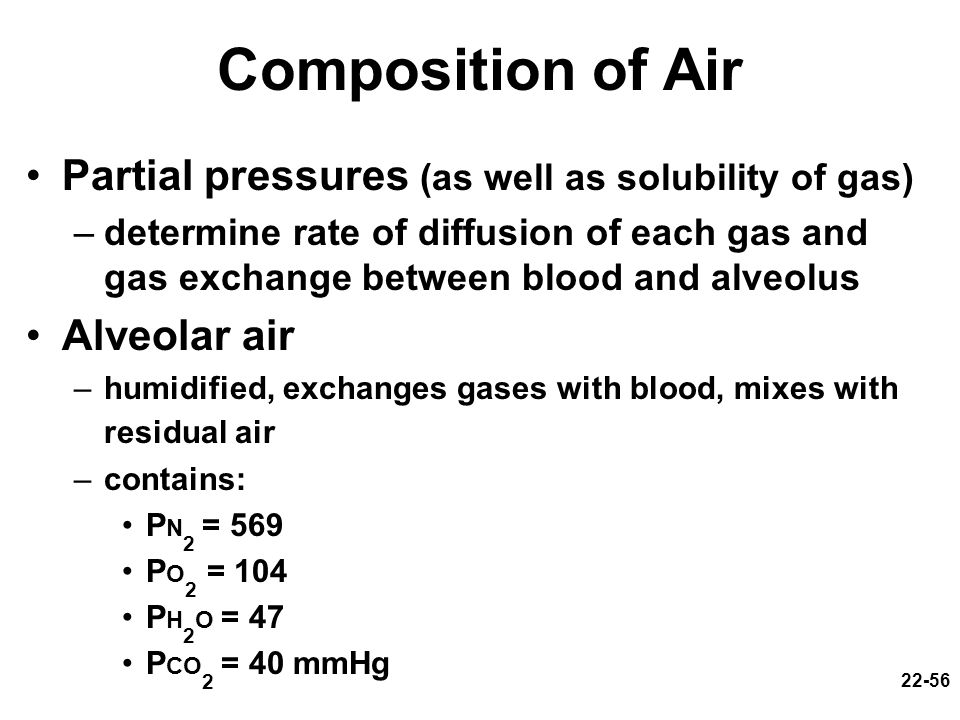 Composition of Air Partial pressures (as well as solubility of gas)