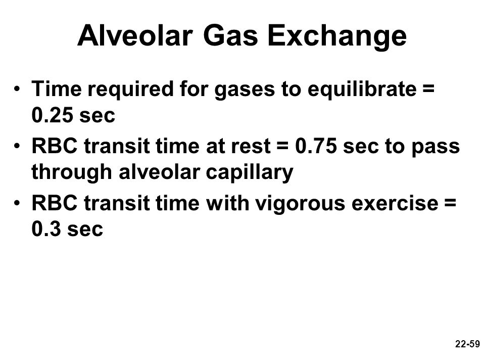 Alveolar Gas Exchange Time required for gases to equilibrate = 0.25 sec. RBC transit time at rest = 0.75 sec to pass through alveolar capillary.