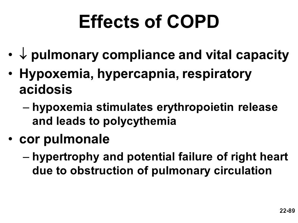 Effects of COPD  pulmonary compliance and vital capacity